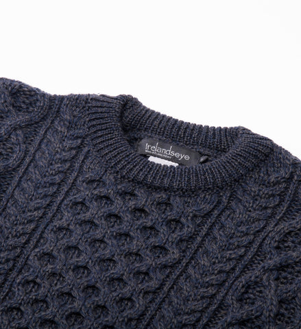 Men's Ireland's Eye Honeycomb Stitch Blasket Aran Sweater, Navy