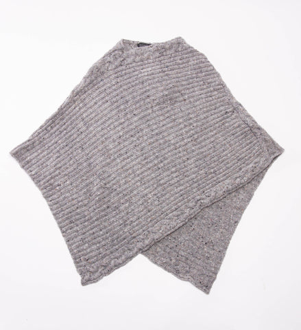 Women's Ireland's Eye Rib Cable Poncho, Granite