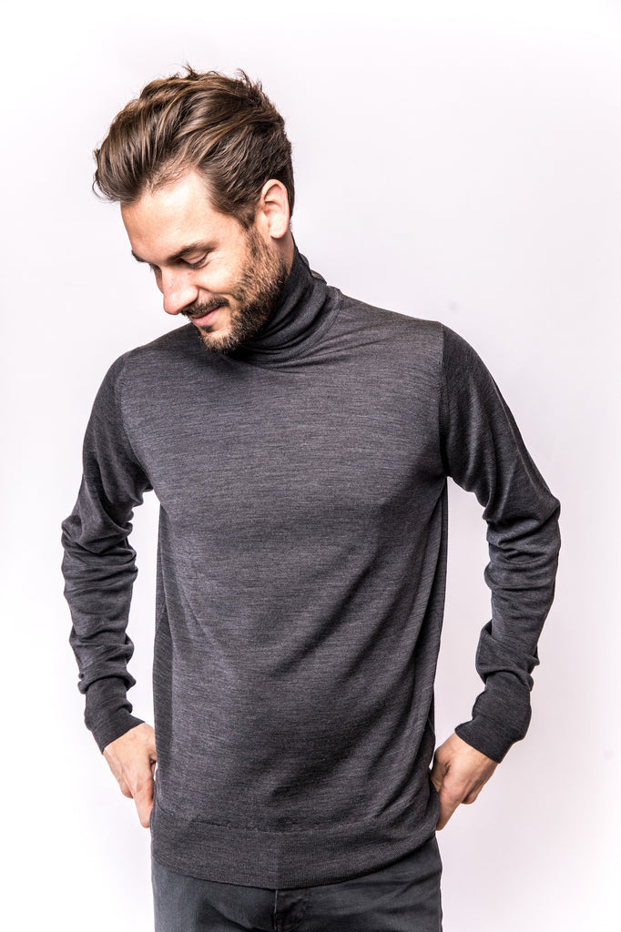 John Smedley Richards Pullover Turtleneck charcoal