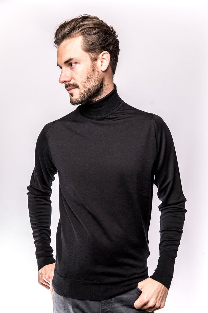 John Smedley Richards Pullover Turtleneck Black