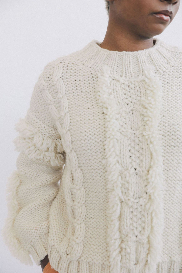 Kordal Cable Knit Fringe Sweater, Cream