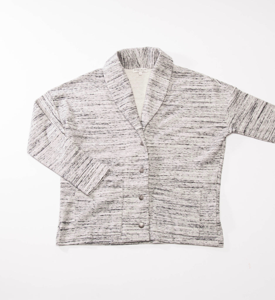 the lady & the sailor Snap Cardi, Marble Knit