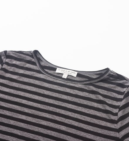 The Lady and the Sailor Relaxed LS Shirt, Charcoal Stripe