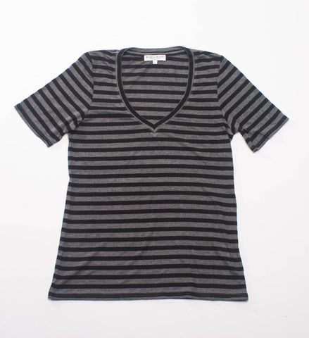 The Lady and the Sailor Vintage V-Neck Tee, Charcoal Stripe