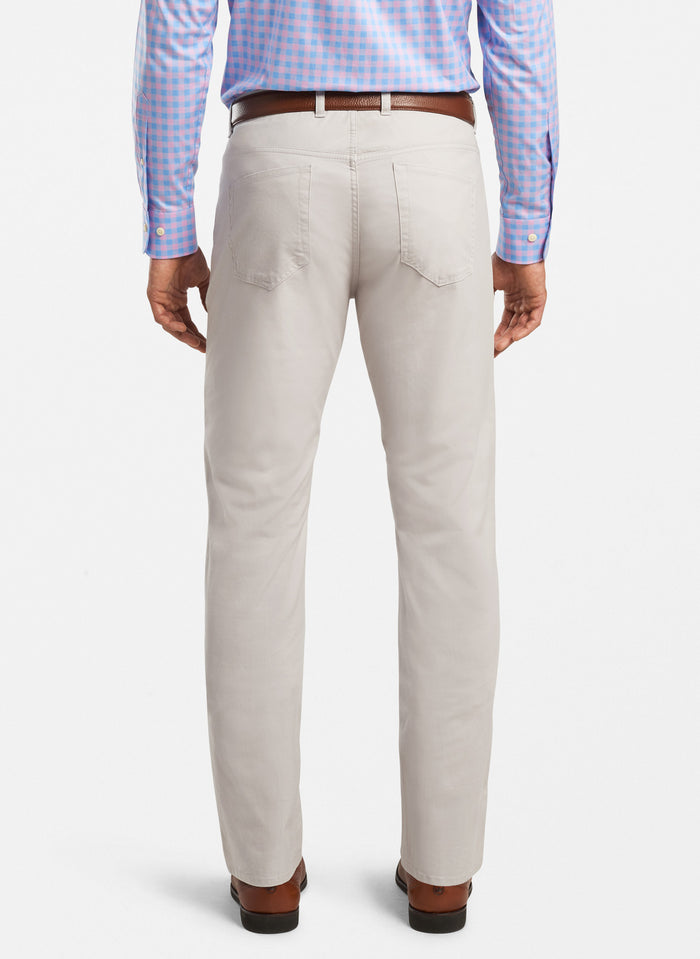 Peter Millar Soft Touch Twill Flat Front Pant, Light Grey