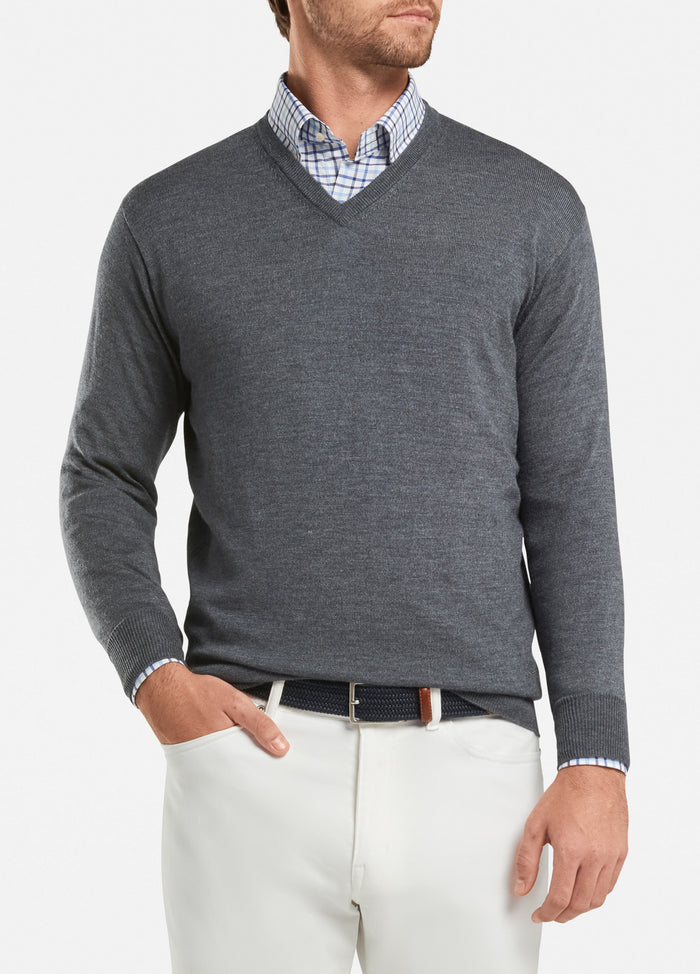 Peter Millar Crown Soft V-Neck, Charcoal