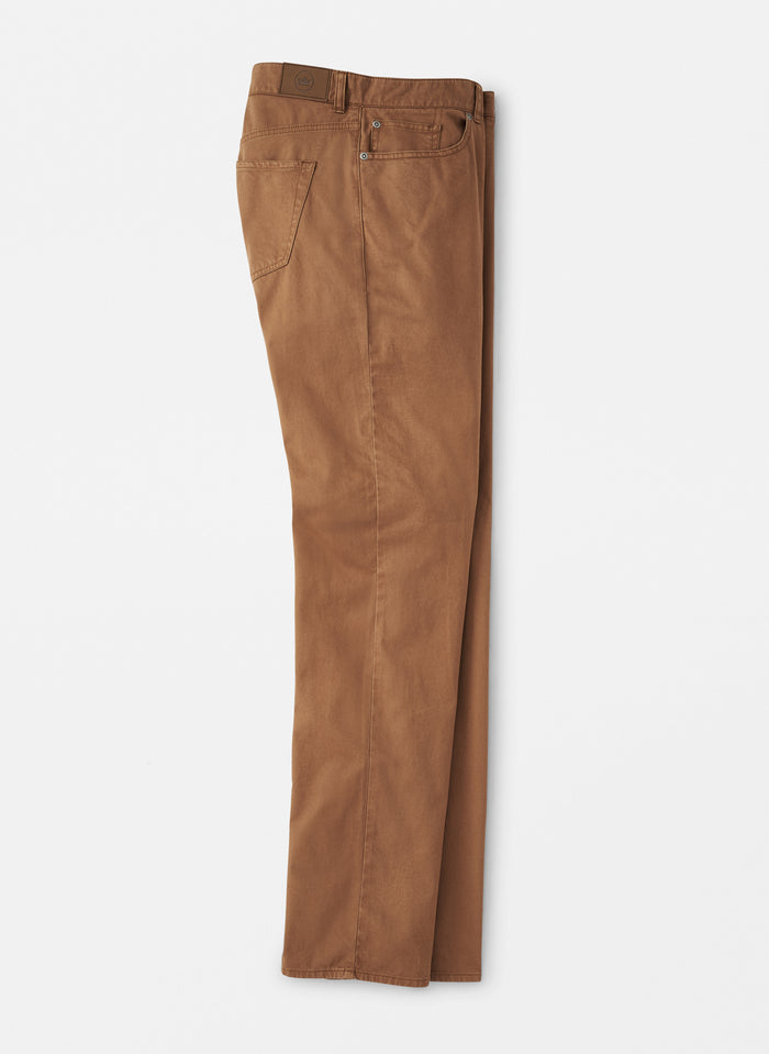 Peter Millar Soft Touch Twill Flat Front Pant, Bullet Brown