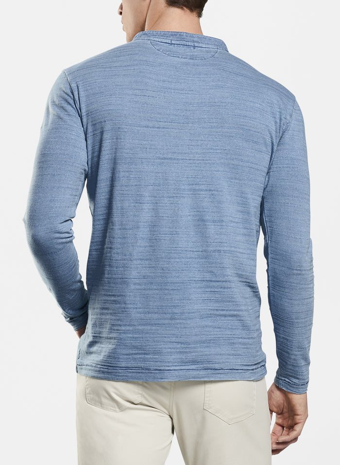 Peter Millar Seaside Slub Henley , Light Indigo
