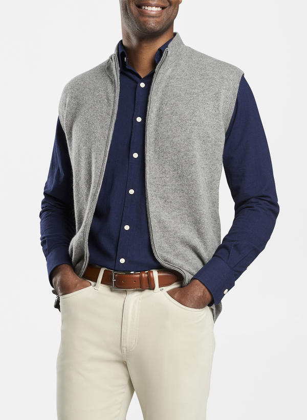 Peter Millar Crown Comfort Cashmere Full Zip Vest, British Grey