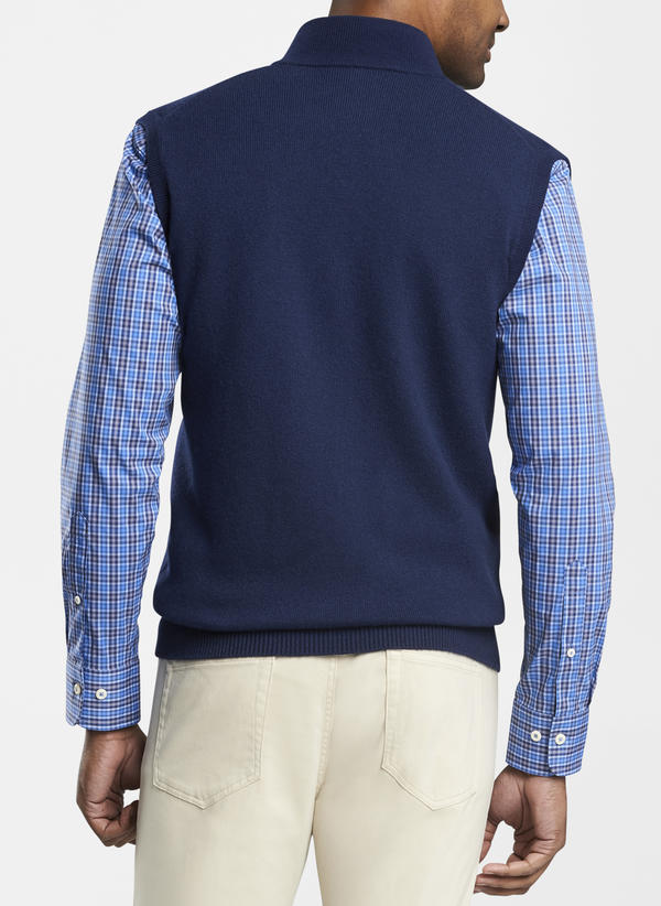 Peter Millar Crown Comfort Cashmere Full Zip Vest, Navy