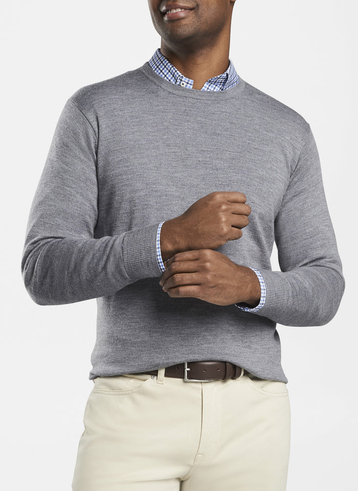 Peter Millar Crown Soft Crew Sweater, British Grey