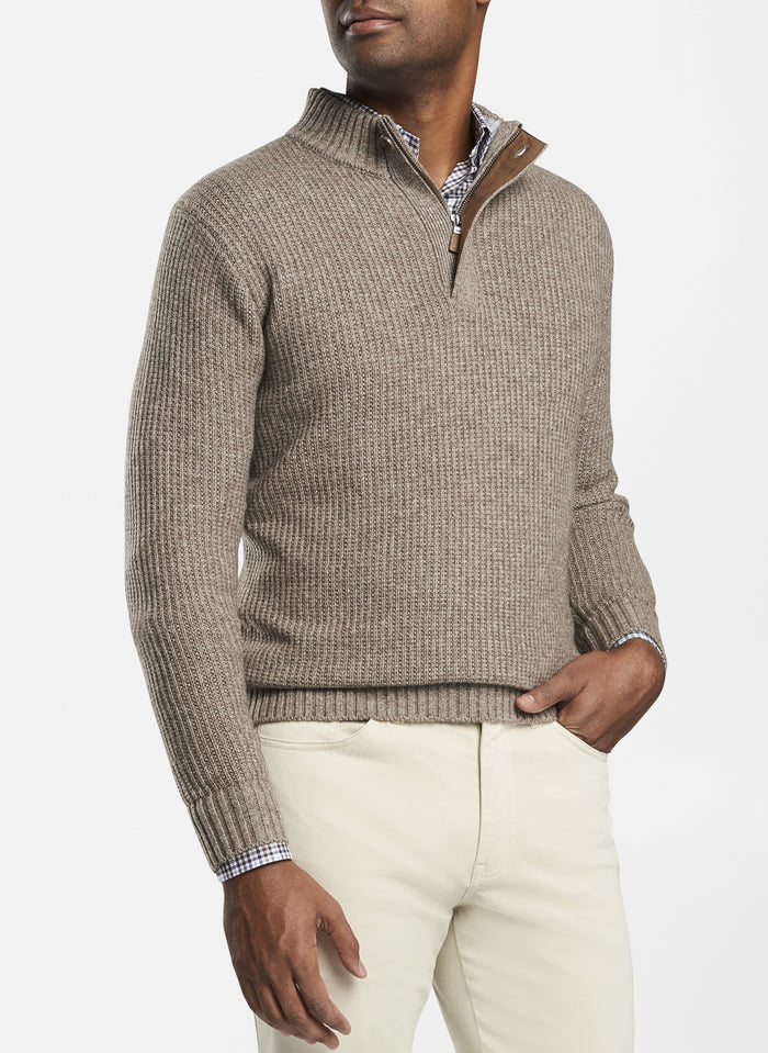 Peter Millar Basketweave Quarter Zip, Grain
