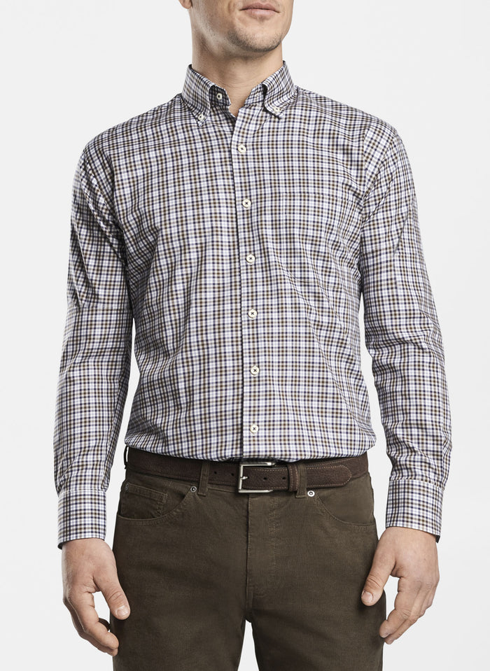 Peter Millar Stretch Worth Tartan, Brown/Blue