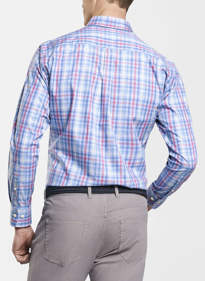 Peter Millar Baker Island Multi Gingham Sport Shirt, Pink/Light Blue