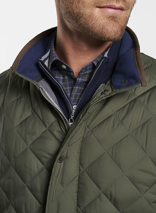 Peter Millar Suffolk Quilted Travel Coat, Olive