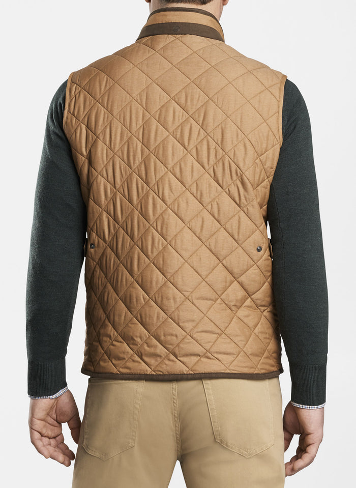 Peter Millar Essex Quilted Traveler Vest, Bullet Brown