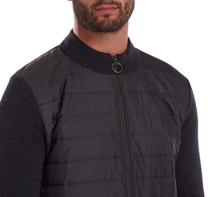 Barbour Carn Baffle Zip Thru Sweater, Solid Charcoal