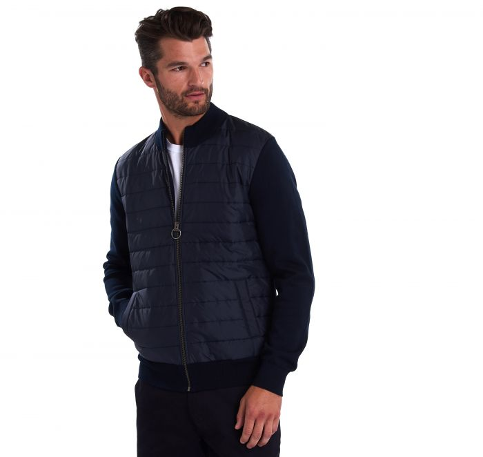 Barbour Carn Baffle Zip Thru Sweater, Navy