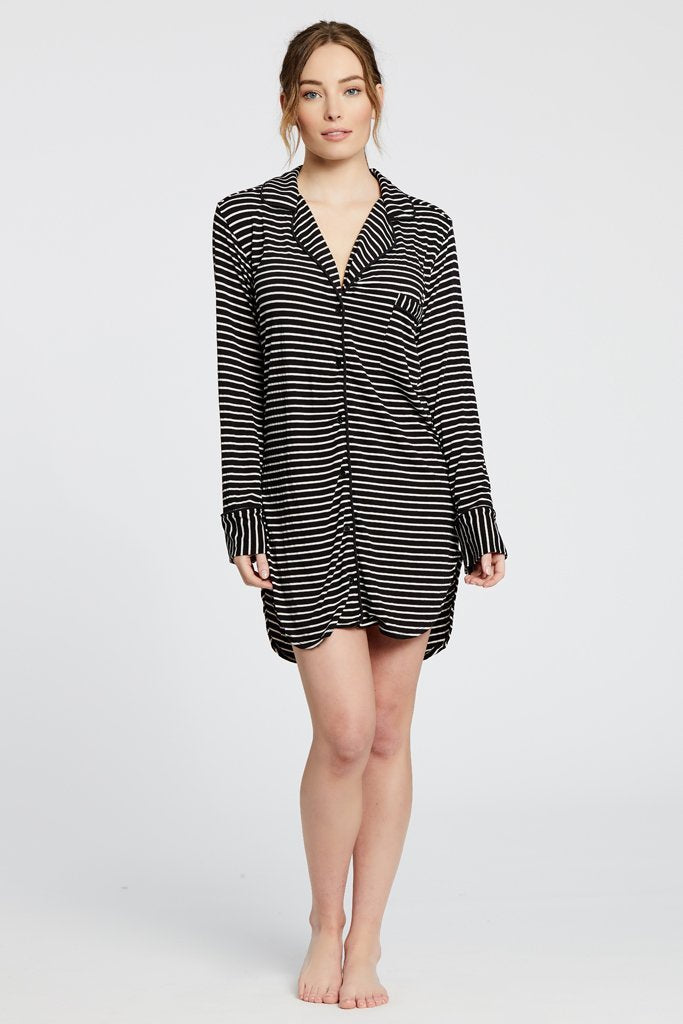 Maison Du Soir Augustine Shirt Dress, Black/White