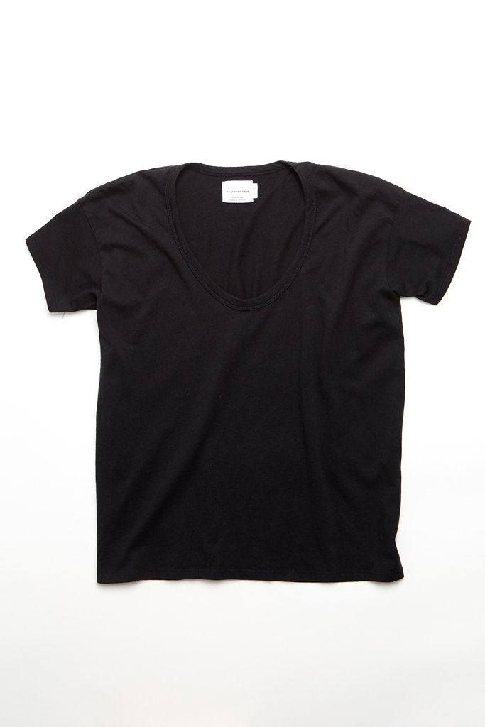 Maison Du Soir Drop Neck Tee, Black