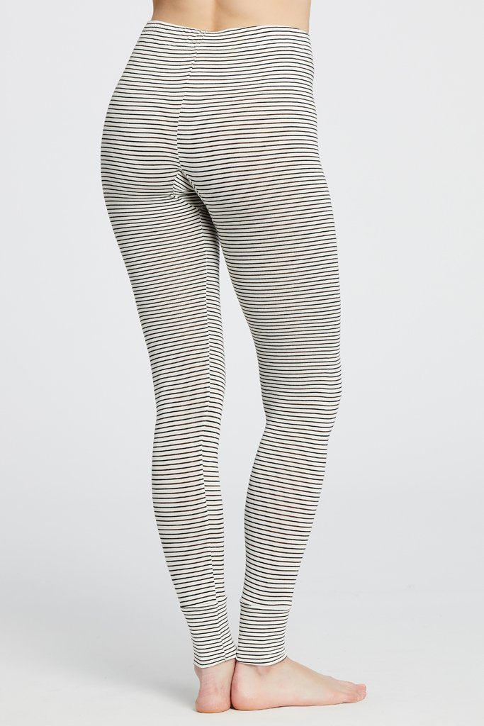 Maison Du Soir Madrid Legging, Off White/Chocolate Stripe
