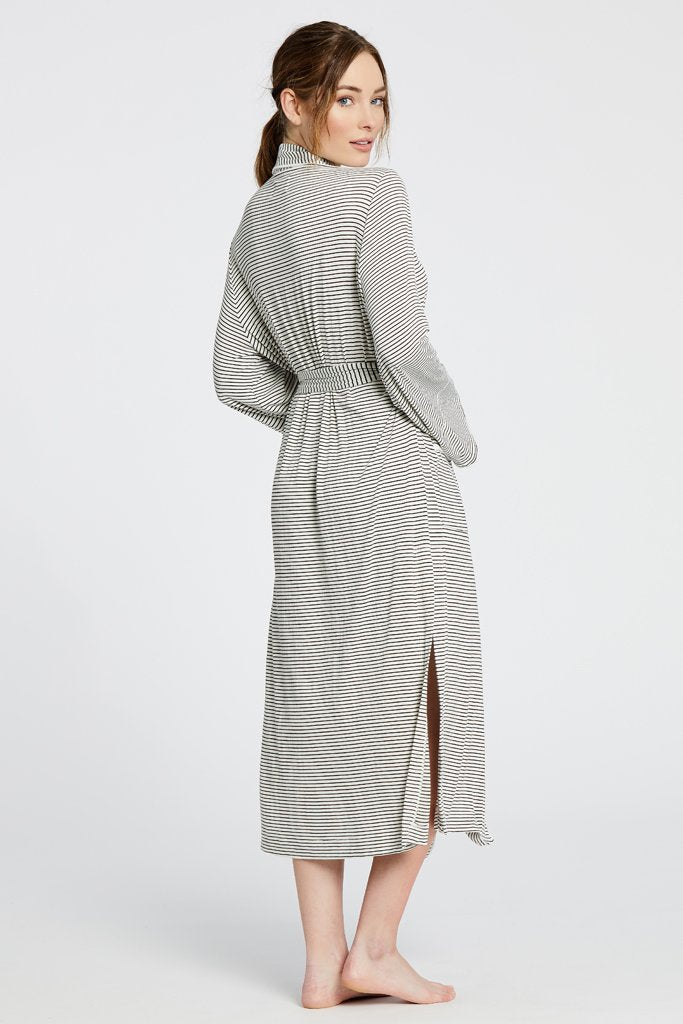 Maison Du Soir Palermo Robe, Off White/Chocolate Stripe