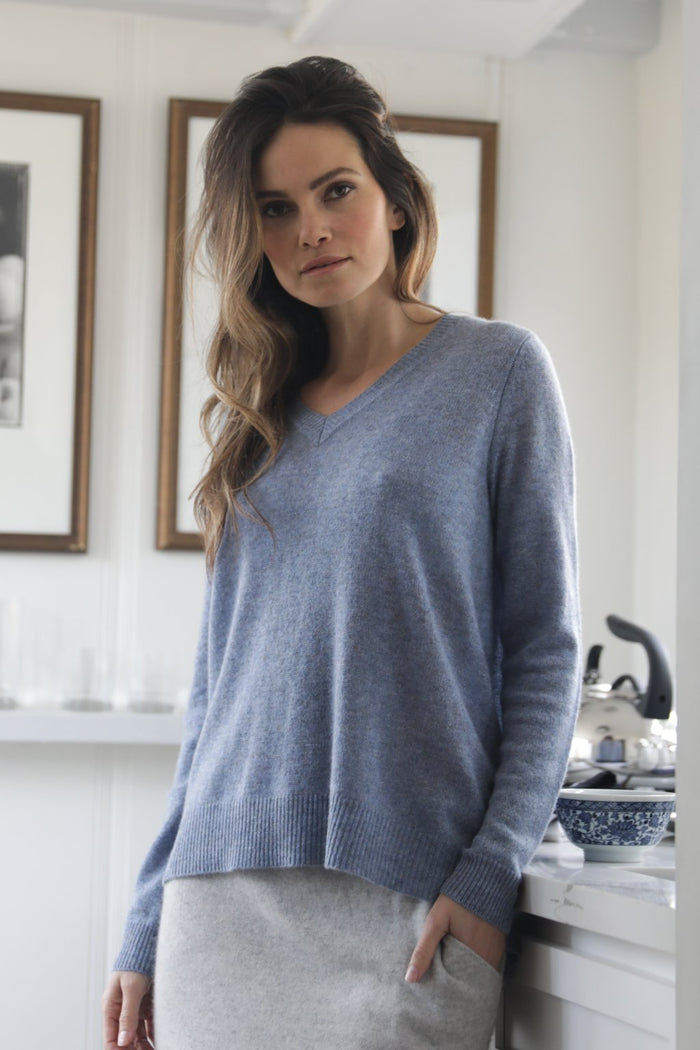 Oats Cashmere Kendra Too Sweater, Chambray