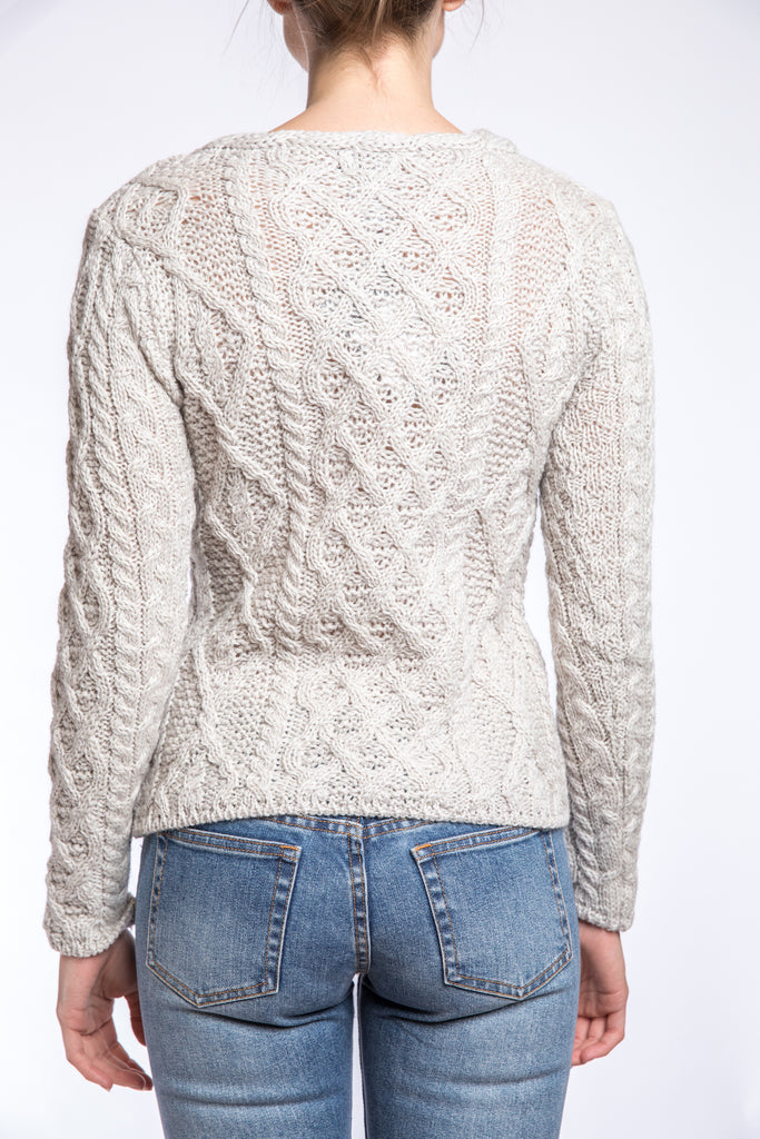 Ireland's Eye Lattice Cable Aran Sweater, Silver