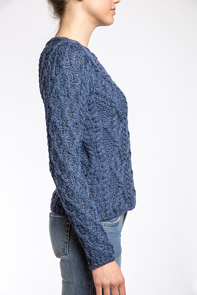 Ireland's Eye Lattice Cable Aran Sweater, Denim