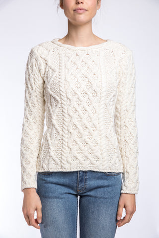 Ireland's Eye Lattice Cable Aran Sweater, Natural