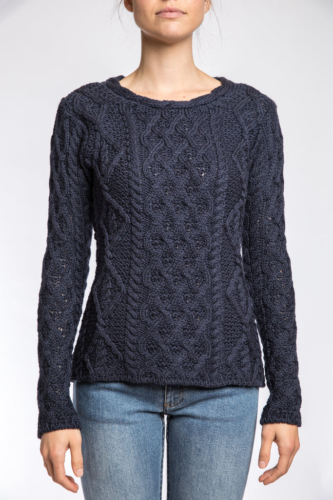 Ireland's Eye Lattice Cable Aran Sweater, Navy