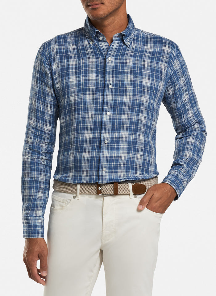 Peter Millar Avignon Sport Shirt, Barchette Blue/White