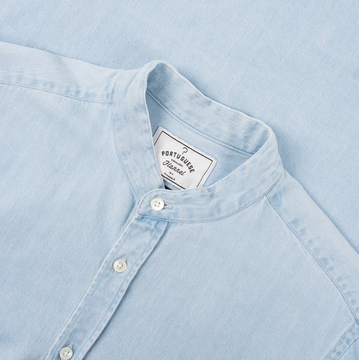 Portuguese Flannel Mao Shirt w Mandarin Collar, Light Denim