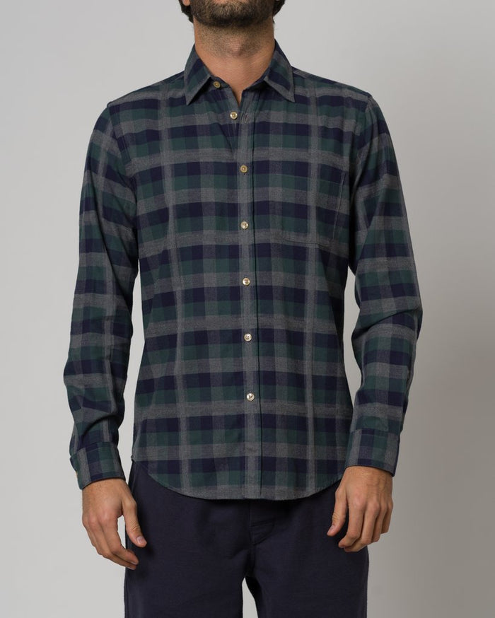 Portuguese Flannel Embossed Shirt, Grey