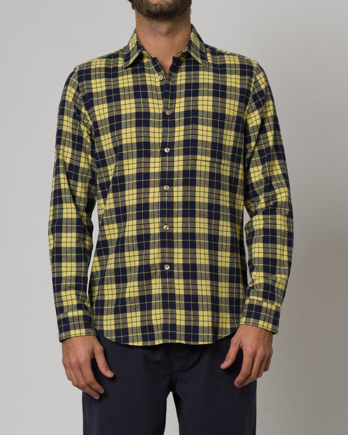 Portuguese Flannel Highland Shirt, Yellow Check