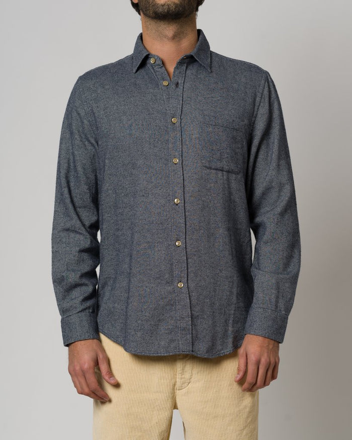 Portuguese Flannel Teca Shirt, Grayed Blue