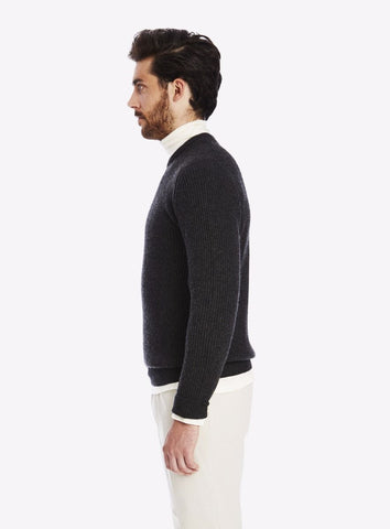 Private White Cashmere Crew Neck Ribbed Jumper, Charcoal