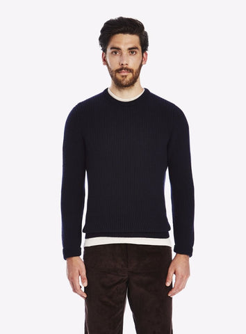 Private White Cashmere Crew Neck Ribbed Jumper, Navy Ink
