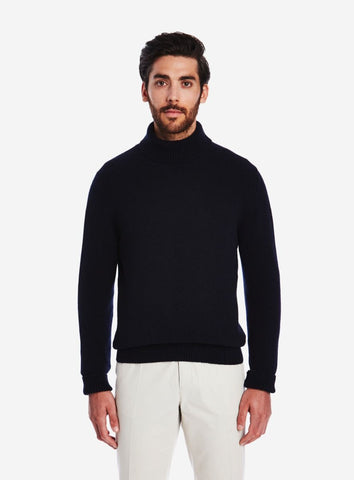 Private White Cashmere Submariner Rollneck, Navy Ink