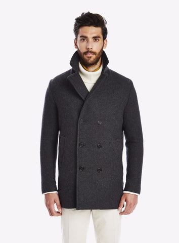Private White Wool/Cashmere Reefer Peacoat, Charcoal