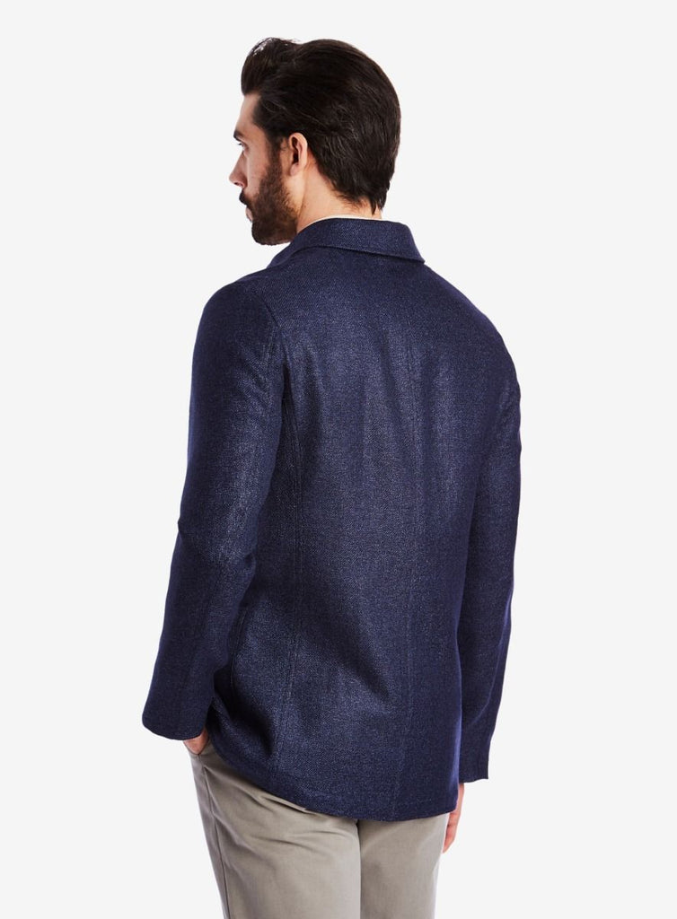 Private White V.C. Lightweight Shacket, Linen/Wool navy