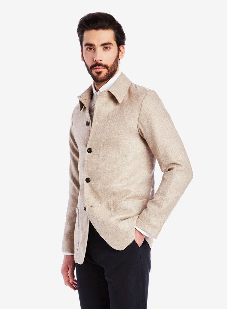 Private White V.C. Lightweight Shacket, Linen/Wool oat