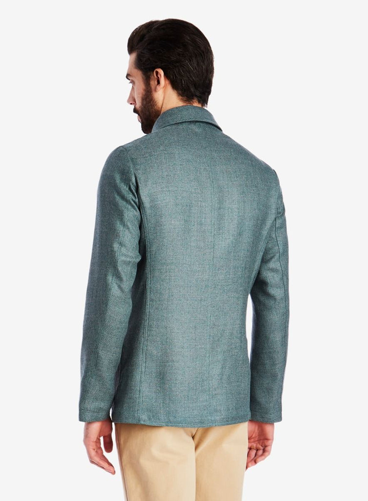 Private White V.C. Lightweight Shacket, Linen/Wool teal