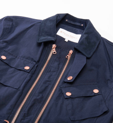 Twin Track Jacket, Navy Wax Cotton