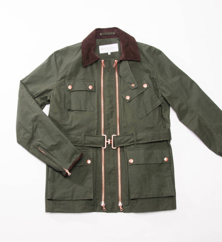 Private White Twin Track Jacket, Olive Wax Cotton