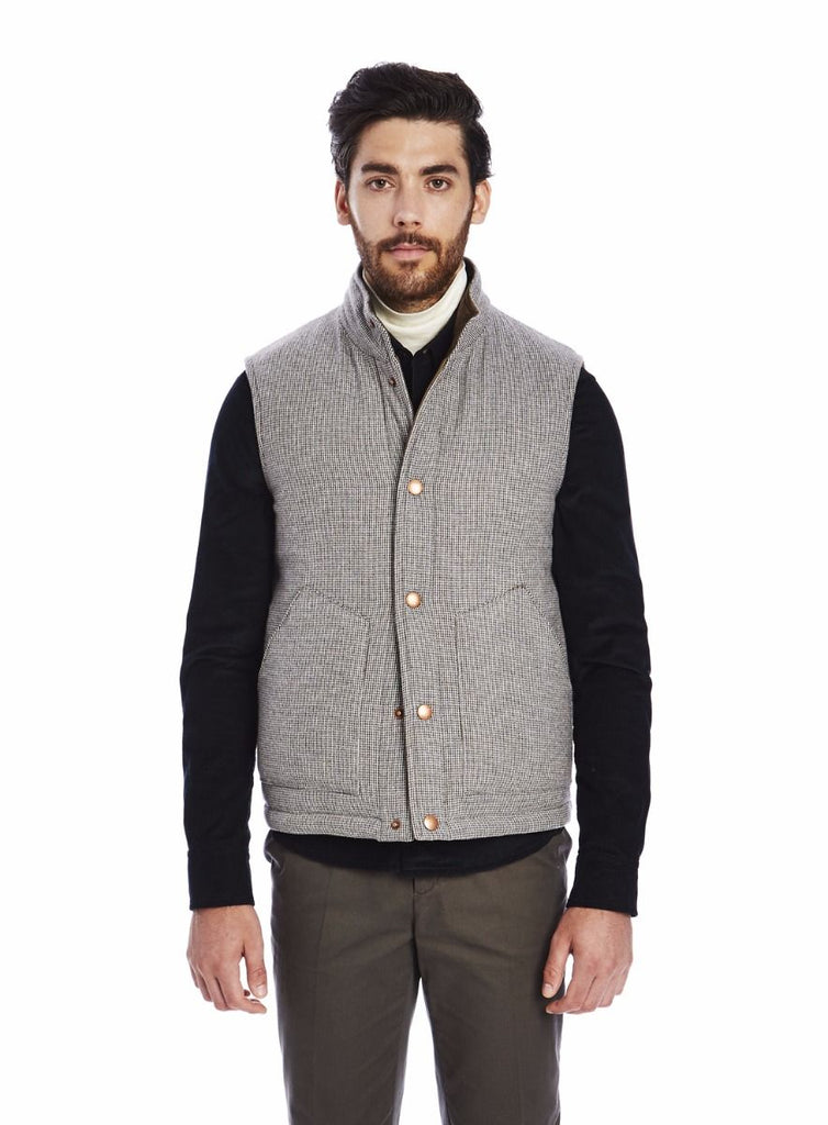 Private White Wool Padded Cashmere Gilet, Brown Puppytooth