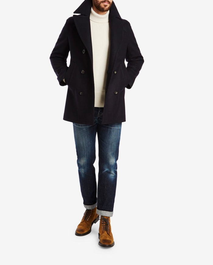 Private White Melton Peacoat, Navy