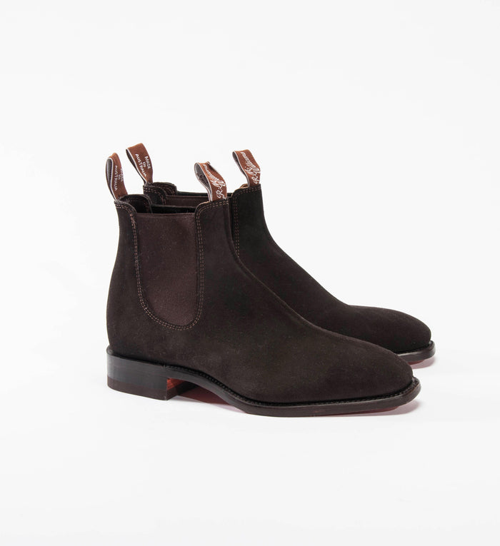 R.M. Williams Suede Craftsman Boot, Chocolate | Chelsea Dress Boot | Portland Dry Goods