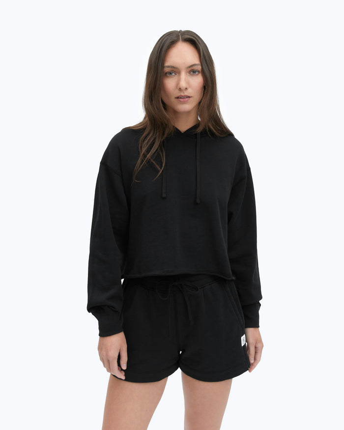 Reigning Champ Pima Terry Cropped Pullover Hoodie, Black