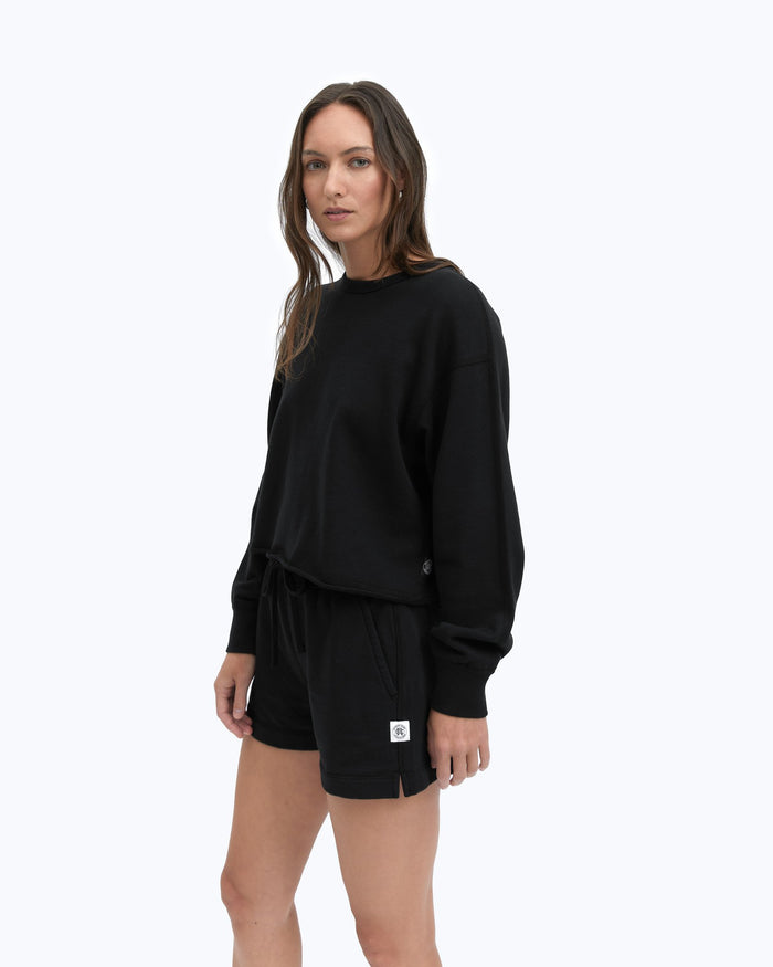 Reigning Champ Terry Cropped Crewneck, Black